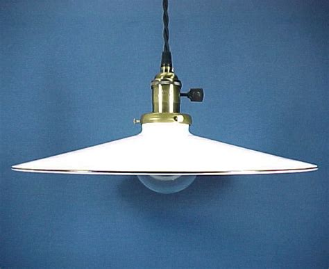 Pendant Light Fixture Industrial Style W White 14 In Shade