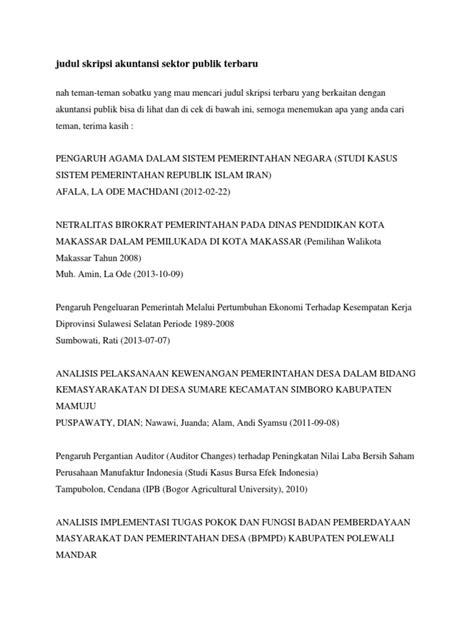 Kumpulan judul skripsi akuntansi sektor publik 2012. judul