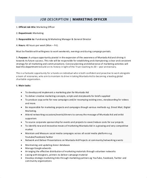sample marketing job descriptions   ms word