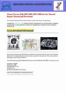 Nissan Navara D40 2005 2006 2007 2008 Service Manual