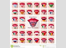 Tongues Flat Language Icons With Country Flags Stock