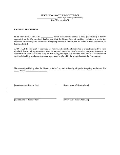 USA Directors Resolution to Designate Bank | Legal Forms