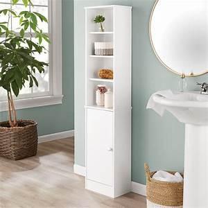 Mainstays, 4-shelf, 1-door, Bathroom, Storage, Linen, Tower, White