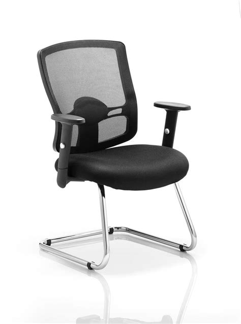 portland visitor cantilever chair black mesh with arms
