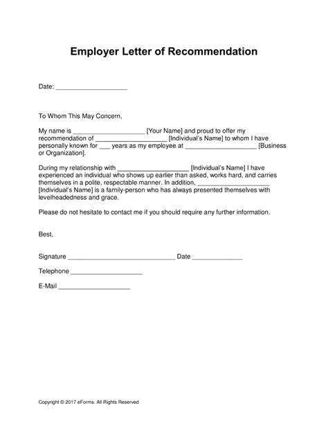 letter of recommendation from employer free employer letter of recommendation template with 12830
