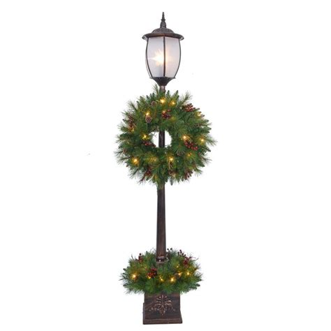 holiday outdoor l post home accents holiday 7 ft pre lit lantern post artificial