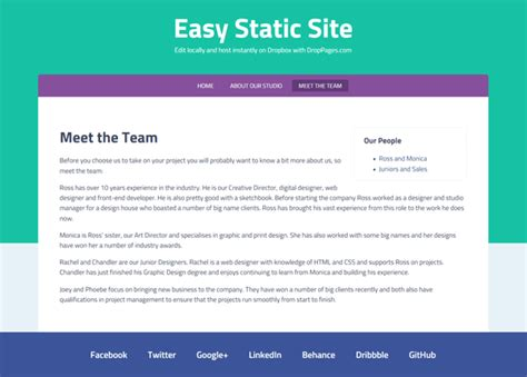 using droppages for a easy static website