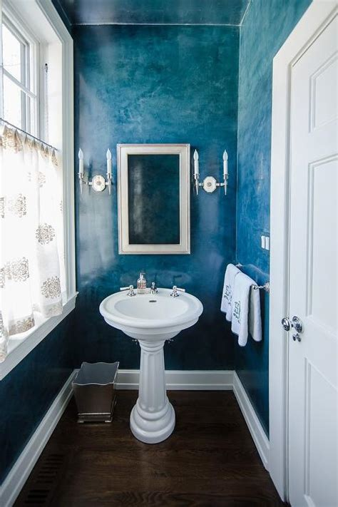 beach style powder room  blue ombre walls cottage