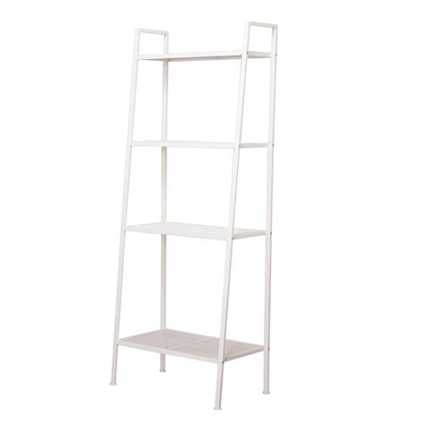 Metal Leaning Bookcase by 23 In X 14 In 4 Tiers Ivory White Widen Metal Bookcase