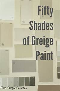 Fifty Shades of Greige Paint - two purple couches