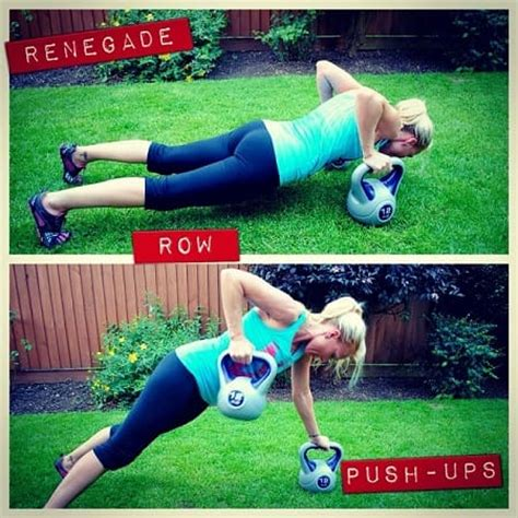 kettlebell row push ups ass renegade kick chest targets combo exercises arms advanced level