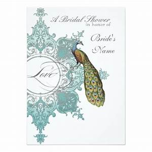 Diy customized weddings baroque peacock bridal shower for Peacock wedding shower invitations