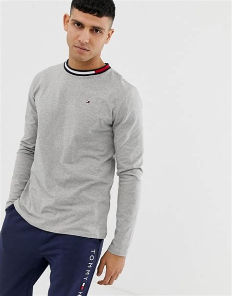 Contrast Neck Sleeve T Shirt hilfiger crew neck sleeve t shirt with contrast