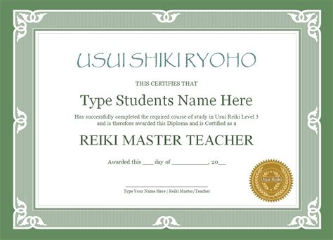 Reiki Level 1 Certificate Template by Reiki Certificate Templates The Reiki Store