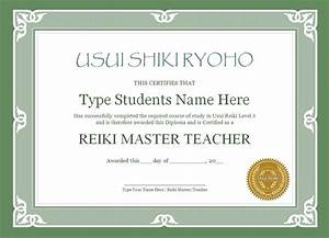 Reiki certificate templates the reiki store for Reiki certificate template