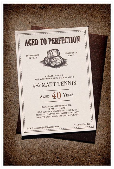 Aged To Perfection Dinner Party Letterpress Invitations