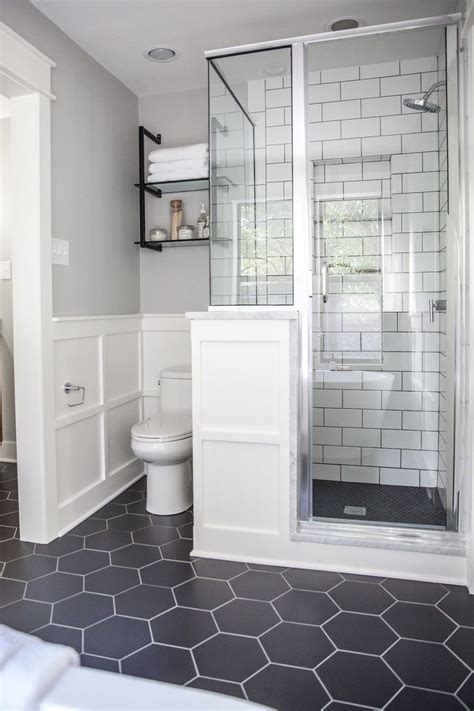 hexagon tile bathroom ideas  pinterest
