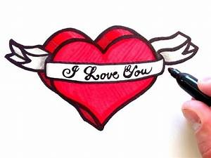 How to Draw a 3D Heart with Ribbon - YouTube