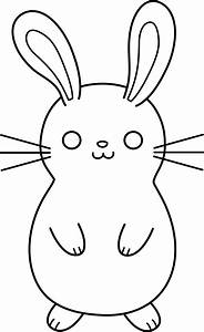 Cute Colorable Easter Bunny - Free Clip Art