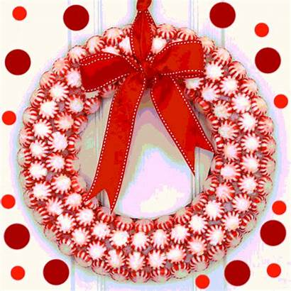 Pretty Wreath Peppermint Merry Christmas Wishes Greetings