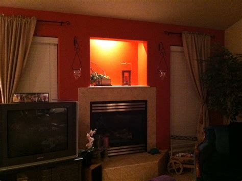 fancy burnt orange wallpaper living room fe