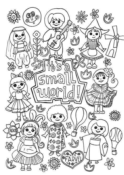 small world coloring page digital  disney etsy