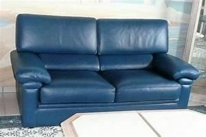 canape cuir buffle bleu clasf With canapé cuir bleu marine