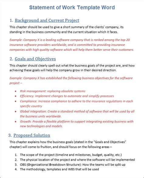 sow template  word template project management