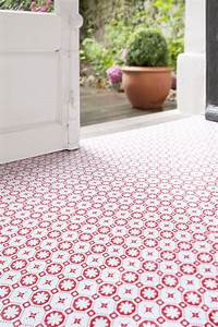 Rose des vents red vinyl floor tiles by zazous for Zazous flooring