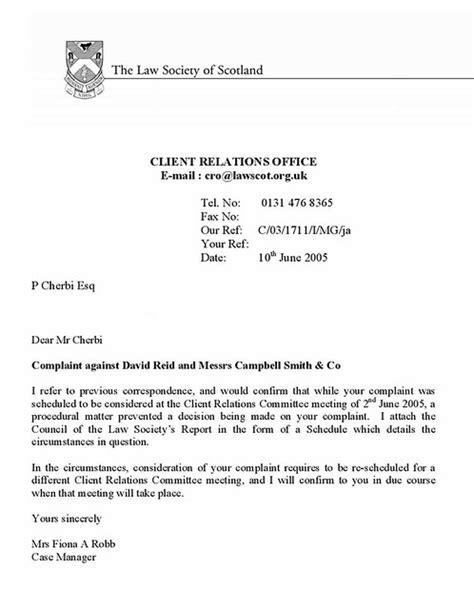 Conflict of interest letter David Reid Complaints Committe