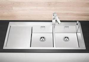 evier inox 2 bacs avec egouttoir a fleur de plan blanco With salle de bain design avec evier noir 2 bacs encastrable