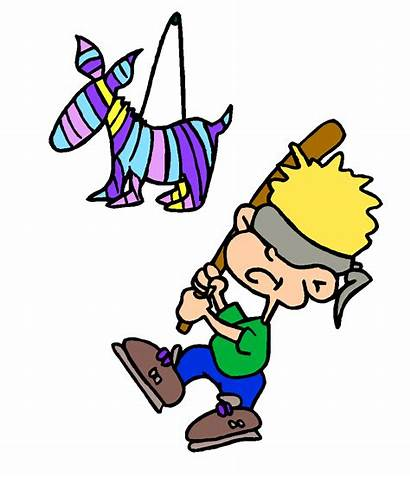 Pinata Clipart Clip Donkey Hitting Party Boy