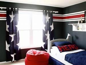 deco chambre ado rouge et blanc With chambre bleu blanc rouge