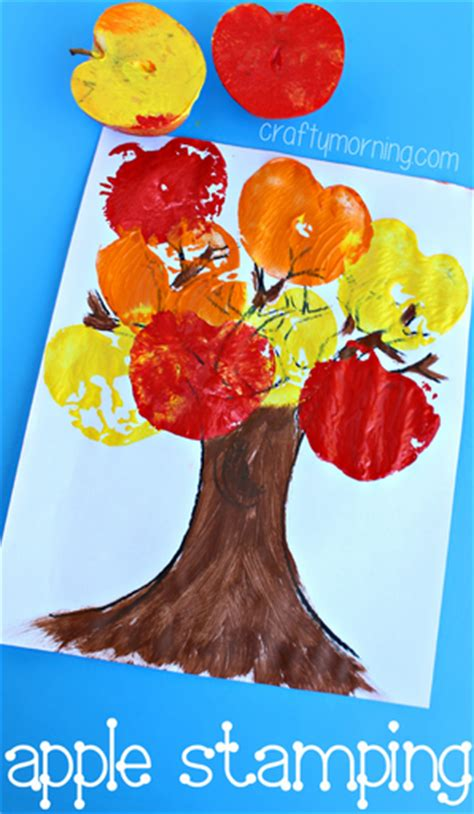 apple stamping tree craft for to make crafty morning 160 | fall tree craft using apples as stamps