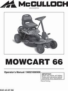Mcculloch 96021000900 Operators Manual Om  Mowcart 66