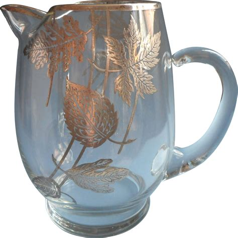 Sterling Silver Barware by Sterling Silver Overlay Pitcher Leaves Motifs