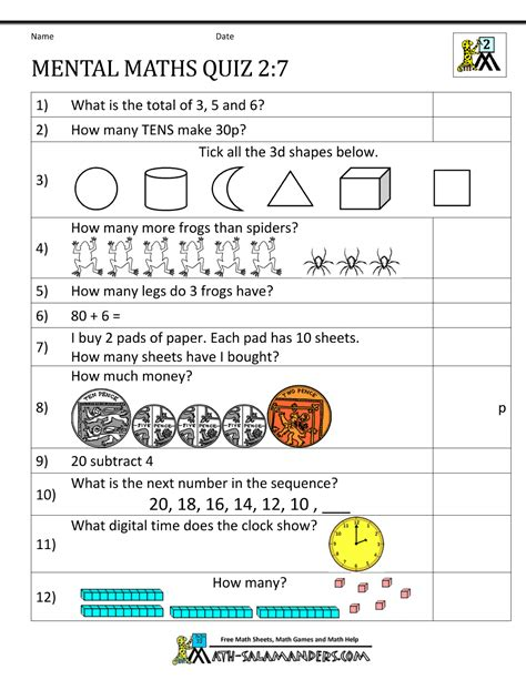 printable mental maths year 2 worksheets