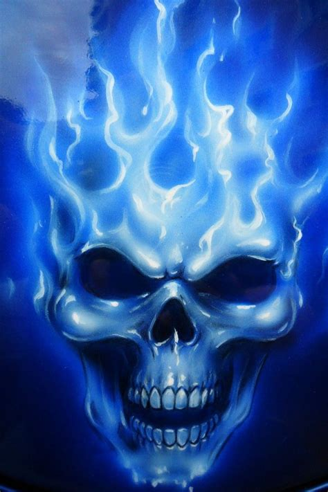 skull drawings  blue flames images pictures
