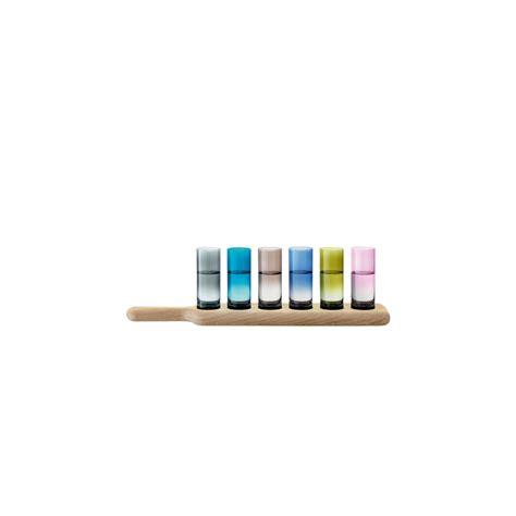 lsa bicchieri set 6 bicchieri lsa colorati con vassoio in legno