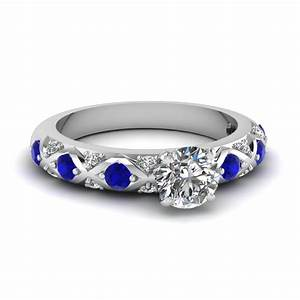 Round cut diamond cross band side stone engagement ring for Wedding rings with blue stones