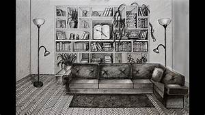 How to draw - living room with sofa and books - one point ...