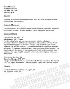 curriculum vitae of mis executive mis manager cv template free resume sles collection