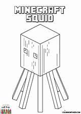 Minecraft Coloring Squid Boys sketch template
