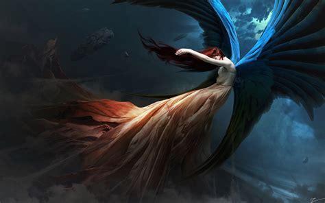 fantasy angel redhead wings hd artist  wallpapers
