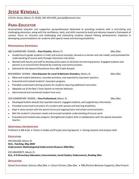 Duties Of A Special Education For Resume by Cover Letter For Paraeducator Exle Http Www