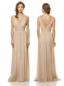 champagne chiffon long bridesmaid dress vow day