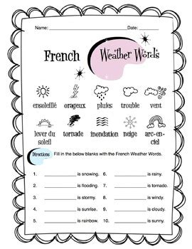 French Weather Words Worksheet Packet by Sunny Side Up ...