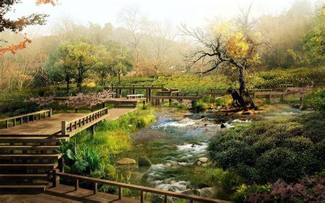 壁纸 : 景观, 花园, 湖, 性质, 反射, 公园, CGI, 早上, 桥, 河, 池塘, 流, 树, 秋季, 叶 ...