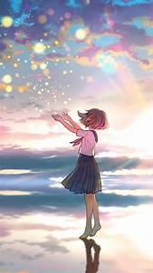 Outdoor  Colorful  Sky  Sunset  Original  Anime Girl