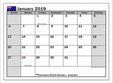 Calendar January 2019, Australia Michel Zbinden en